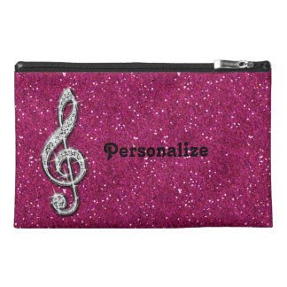 Personalized Glitzy Sparkly Diamond Music Note Travel Accessory Bag