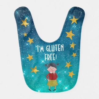 Personalized Gluten Free Allergy List Stars Sky Baby Bib