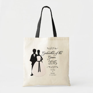 Personalized godmother of the groom wedding favor tote bag