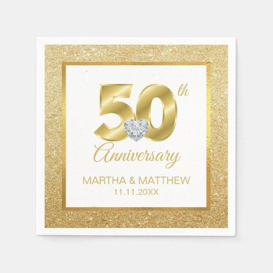 50th Wedding Anniversary Gift Etiquette: Personalized Gold 50th Wedding Anniversary Napkin