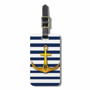 Personalized Gold Anchor Navy White Stripes Bag Tag