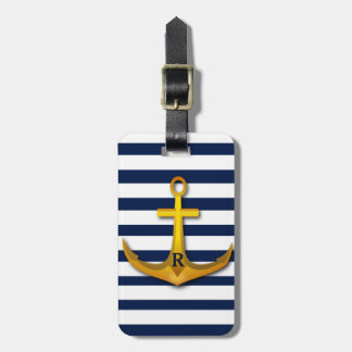 Personalized Gold Anchor Navy White Stripes Tag For Bags