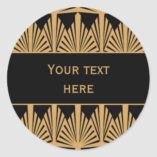 Personalized Gold and Black Art Deco Pattern Classic Round Sticker