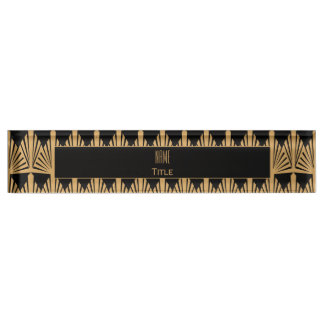 Personalized Gold and Black Art Deco Pattern Desk Name Plate
