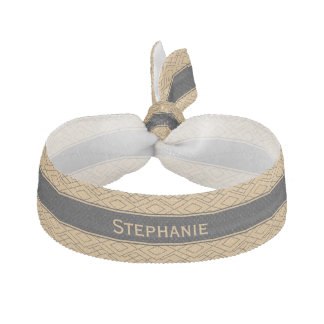 Personalized Gold and Black Art Deco Pattern Elastic Hair Tie