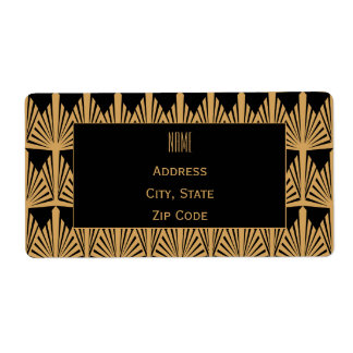 Personalized Gold and Black Art Deco Pattern Label