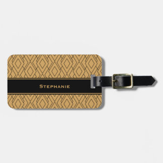 Personalized Gold and Black Art Deco Pattern Luggage Tag