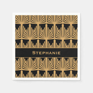 Personalized Gold and Black Art Deco Pattern Napkin