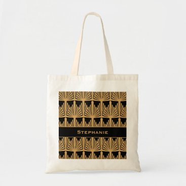 KarinaandCleo Personalized Gold and Black Art Deco Pattern Tote Bag
