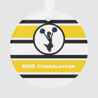 Personalized Gold and Black Cheerleader Ornament