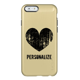 Personalized gold and black heart iPhone 6 case Incipio Feather® Shine iPhone 6 Case