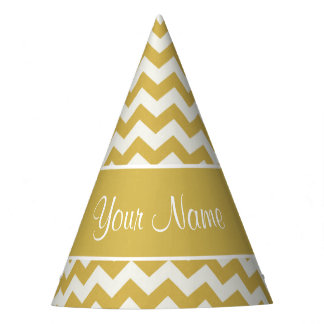Personalized Gold and White Chevrons Party Hat