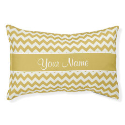Personalized Gold and White Chevrons Pet Bed