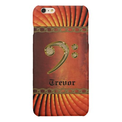 Personalized Gold Bass Clef Music iPhone Case