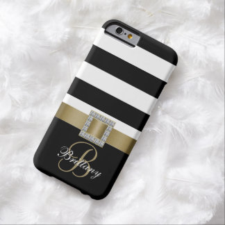 Personalized Gold, Black Bold Stripes Diamonds Barely There iPhone 6 Case