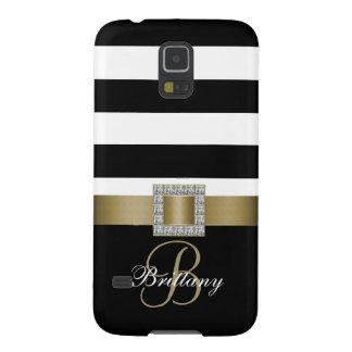 Personalized Gold, Black Bold Stripes Diamonds Galaxy S5 Cover