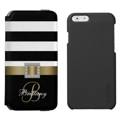 Personalized Gold, Black Bold Stripes Diamonds iPhone 6/6S Wallet Case
