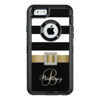 Personalized Gold  Black Bold Stripes Diamonds Otterbox Defender Iphone Case by monogramgallery at Zazzle