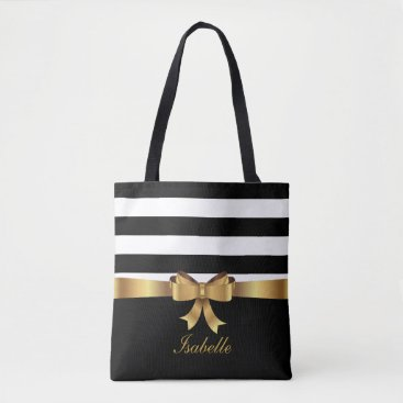 Beach Themed Personalized Gold, Black Bold Stripes ELEGANT BOW Tote Bag