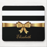"Personalized Gold, Black Bold Stripes Golden BOW Mouse Pad<br><div class=""desc"">This preppy monogrammed design is made up of a bold black and white horizontal striped pattern, a PRINTED gold sating ribbon with a GOLDEN BOW and a black bottom portion you can personalize with your name and your monogram initial in gorgeous script fonts. Be stylish, cool, sophisticated and girly all...</div>"