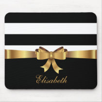 Personalized Gold, Black Bold Stripes Golden BOW Mouse Pad