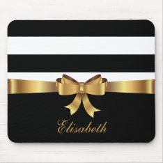 Personalized Gold, Black Bold Stripes Golden Bow Mouse Pad at Zazzle