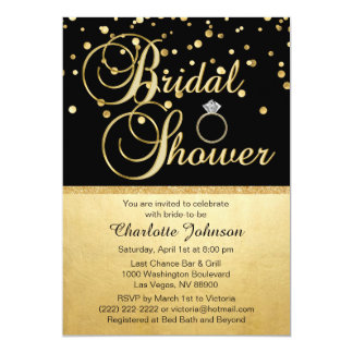 Personalized Gold Black Diamond Ring Bridal Shower Card