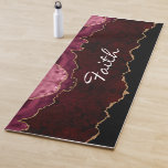 Personalized Gold & Burgundy Agate Yoga Mat