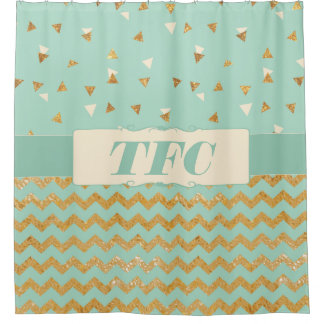 Personalized Gold Confetti Chevron Custom Monogram Shower Curtain