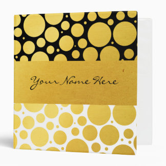 Personalized Gold Confetti on Black and White Binder