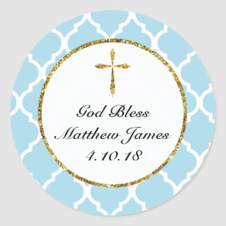 Personalized Gold Cross Religous Favor Tag, Blue Classic Round Sticker