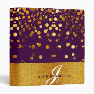Personalized Gold Faux Confetti Glitter 3 Ring Binder