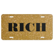Personalized gold faux glitter license plate at Zazzle