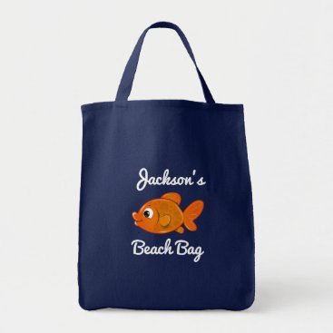 Beach Themed Personalized Gold Fish Beach Bag