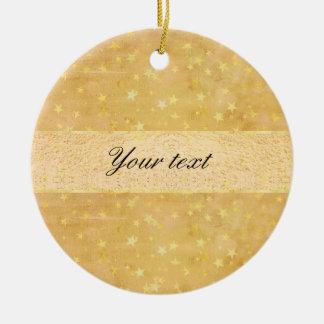 Personalized Gold Foil Stars Watercolor Ceramic Ornament