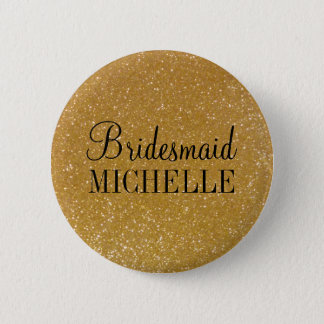 Personalized gold glitter bridesmaids buttons