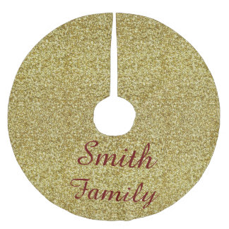 Personalized Gold Glitter Christmas Tree Skirt