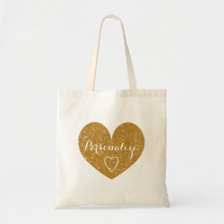 Personalized gold glitter love heart tote bag