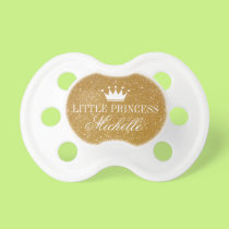 Personalized gold glitter princess crown pacifier