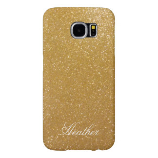Personalized gold glitter Samsung S6 phone case