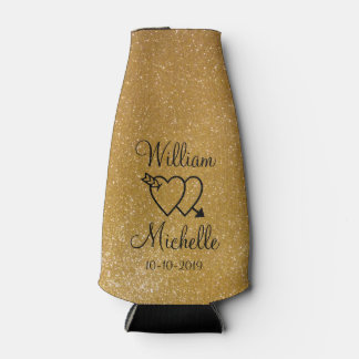 Personalized gold glitter wedding bottle cooler