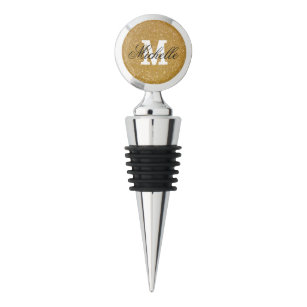 Personalized gold glitter wine stopper with name