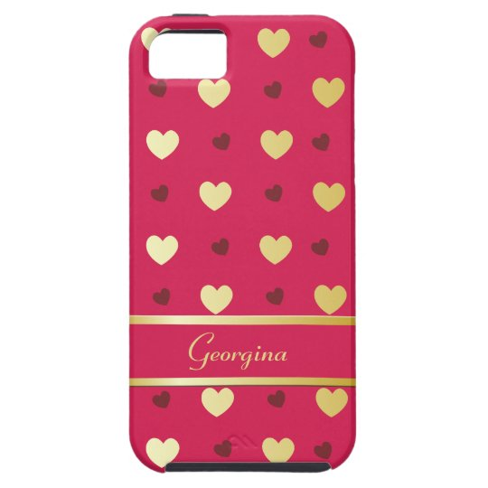 Personalized Gold Hearts on Cerise iPhone SE/5/5s Case