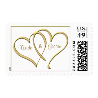 Personalized Gold Hearts Stamps