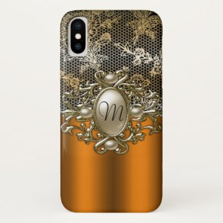 Personalized Gold Jewel and Lace Case-Mate iPhone Case