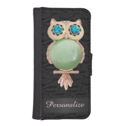Personalized Gold & Jewels Owl Ruffled Silk Image iPhone SE/5/5s Wallet Case