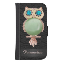 Personalized Gold & Jewels Owl Ruffled Silk Image Wallet Phone Case For Samsung Galaxy S4