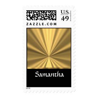 Personalized gold look and black postage