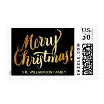 Personalized Gold Merry Christmas Text on Black Postage