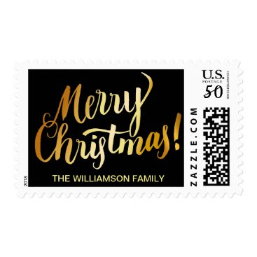 Christmas Themed Personalized Gold Merry Christmas Text on Black Postage